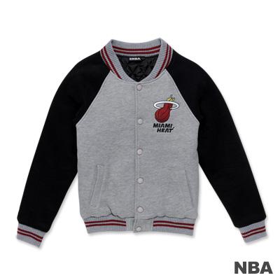 NBA-邁阿密熱火隊繡花LOGO鋪綿棒球外套-麻灰