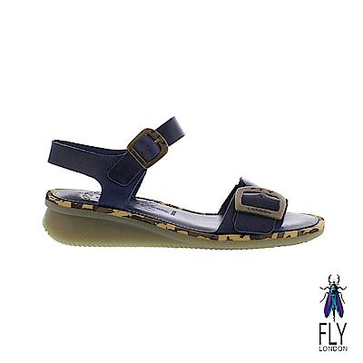 Fly London(女) 夏日戀情 牛皮單線踝扣平底涼鞋-出航藍