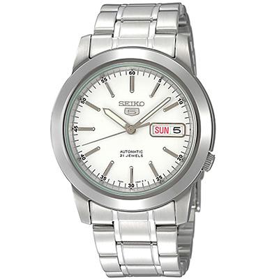 SEIKO 精工5夜光針自動上鍊不鏽鋼男士手錶(SNKE49J1)-白/38mm