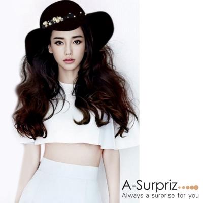 A-Surpriz 珍珠花朵寬版毛呢圓頂帽(黑)
