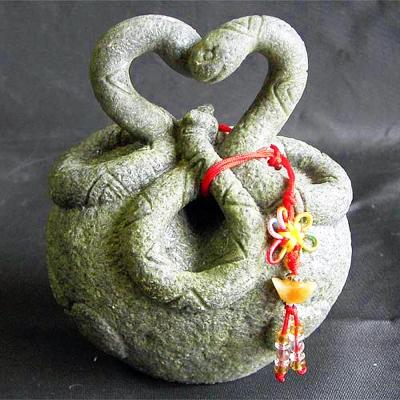 開運陶源  石塑造十二生肖【蛇】青斗石*限量888