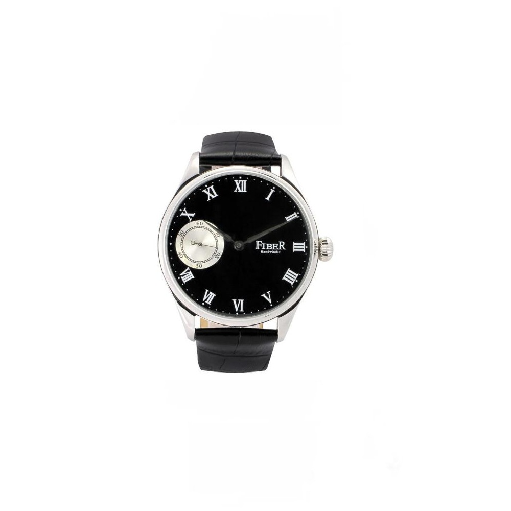 FIBER  經典羅馬時標九點小秒針手上鍊腕錶-黑/43mm
