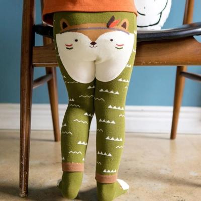 BEBEZOO 韓國 山形波浪狐狸款彈性內搭褲襪子兩件組