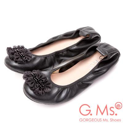 G.Ms. 手串珍珠網紗牛皮彎折娃娃鞋-黑色