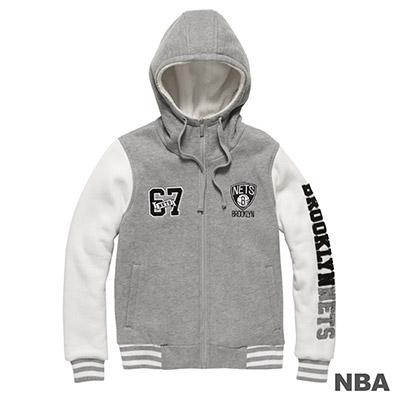 NBA-布魯克林籃網隊雙袖拼接繡字棒球外套-麻灰-女