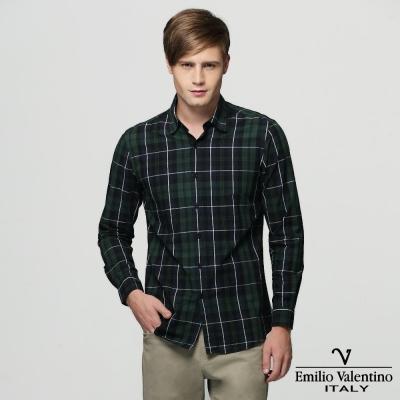 Emilio Valentino 范倫提諾水洗格紋襯衫-綠
