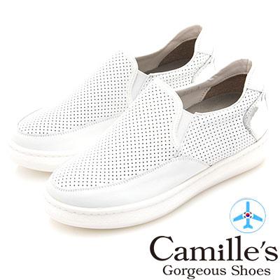Camille's 韓國空運-正韓製-洞洞牛皮拼接內增高懶人鞋-白色
