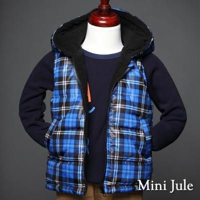 Mini Jule 童裝-鋪棉背心 搖粒絨亮藍格紋口袋連帽背心(彩藍)