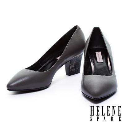 高跟鞋-HELENE-SPARK-獨特後跟牛皮尖頭高跟鞋-灰
