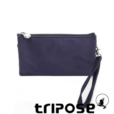 tripose 漫遊系列岩紋簡約微旅手拿/側肩包 迷彩藍