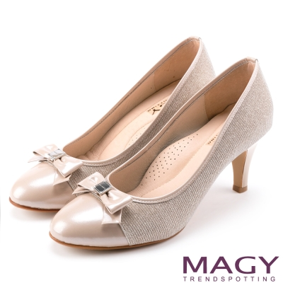 MAGY 氣質首選 雙材質拼接牛皮高跟鞋-粉紅