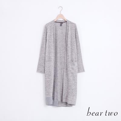 beartwo俐落簡約素面長版開襟罩衫-灰色