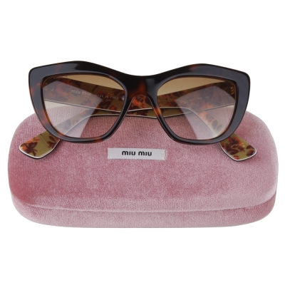 MIU MIU 內框花朵點綴太陽眼鏡(豹紋)