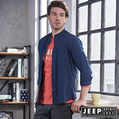 JEEP 時尚亨利領長袖襯衫 合身版-藍色