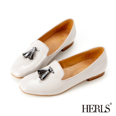 HERLS-氣質首選 內真皮造型流蘇樂福鞋-灰銀