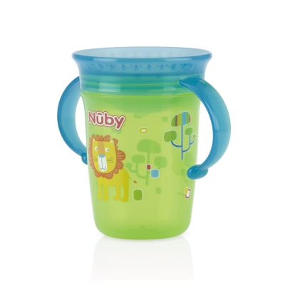 Nuby 360度喝水杯240ml-藍綠(6m+)