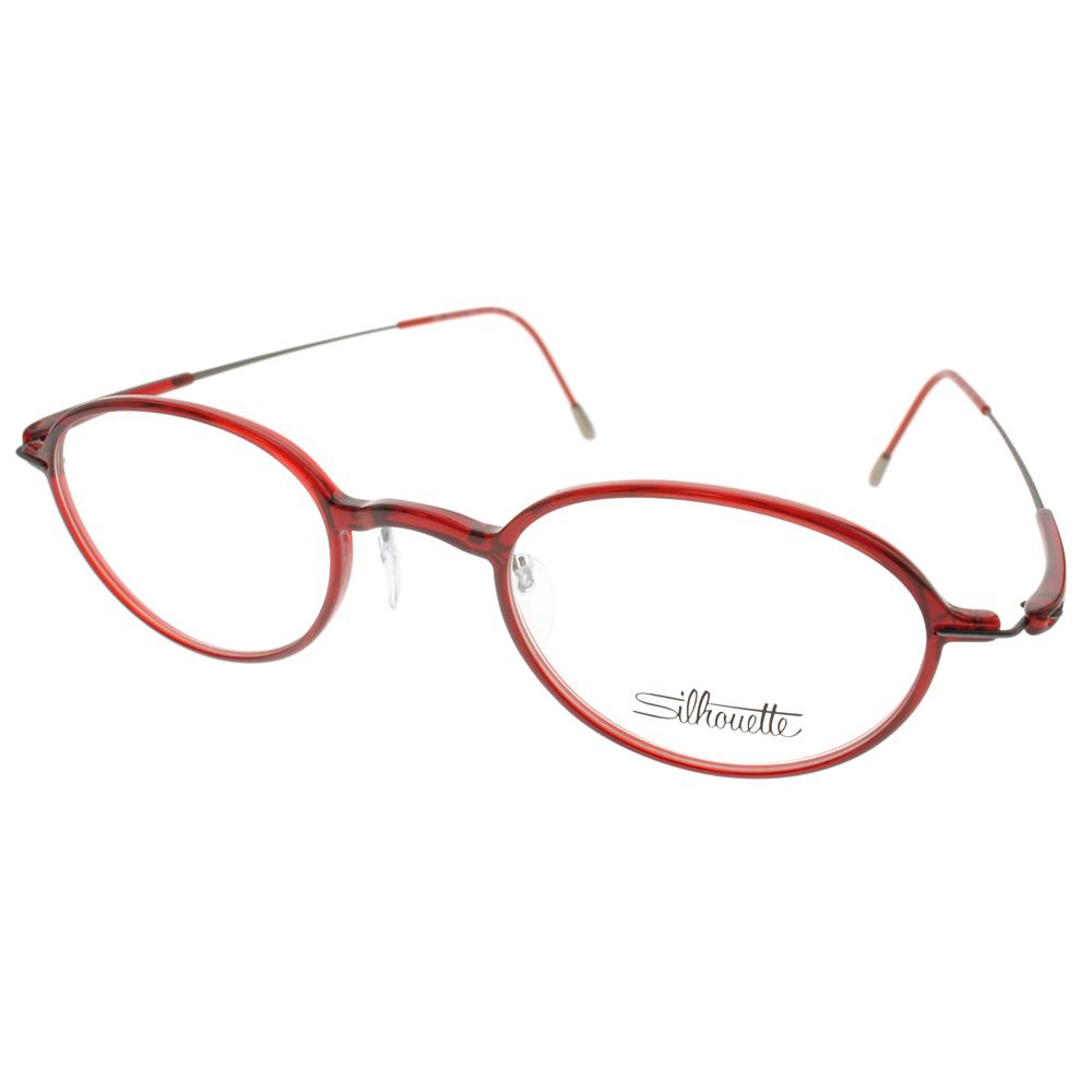 Silhouette詩樂眼鏡 簡約小圓框/紅#ST2878 C6059