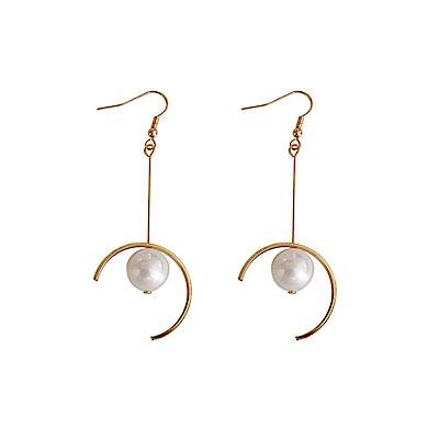 梨花HaNA 冷淡光澤質感珍珠半月耳環耳針/夾式 選