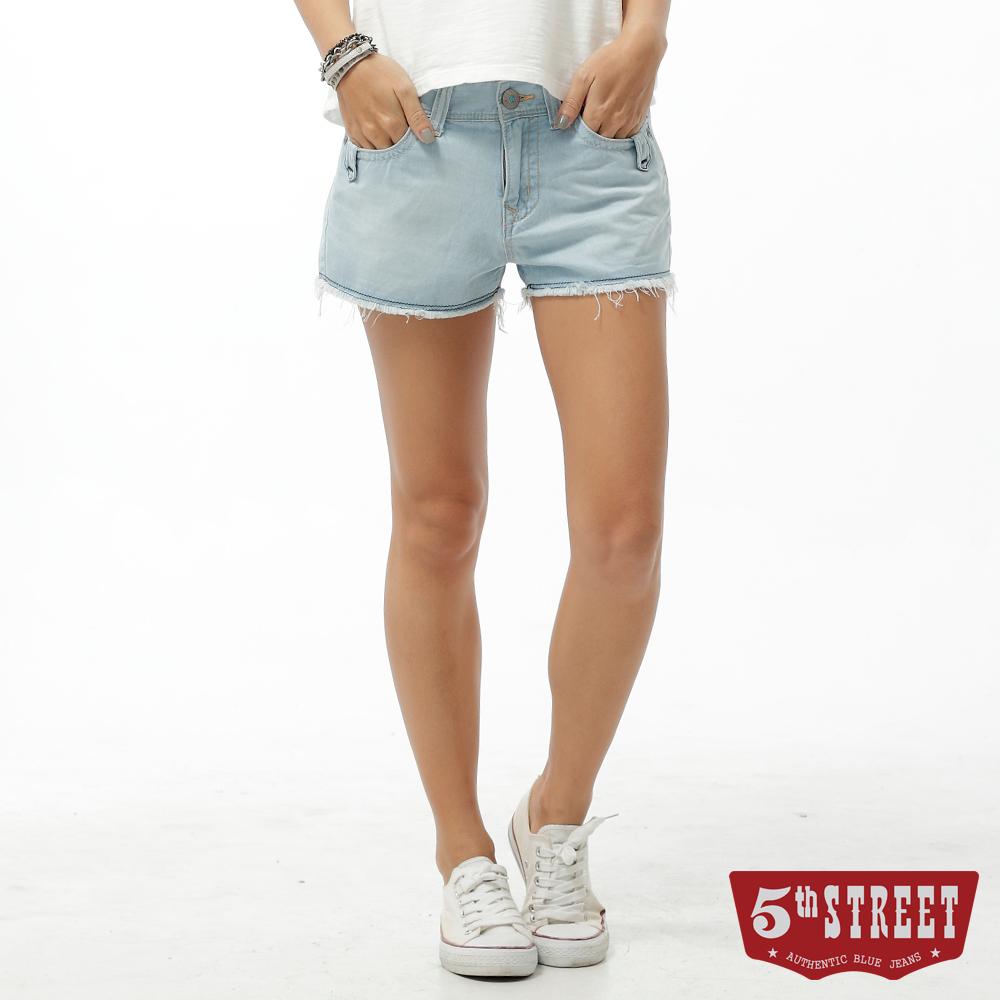 5th STREET 短褲 1965民族圖騰牛仔短褲-女-漂淺藍