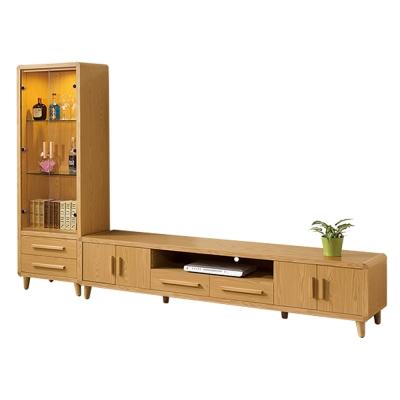 ROSA羅莎  羅伊原木色9尺L櫃(2尺展示櫃+7尺電視櫃)