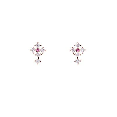 微醺禮物 耳環 正韓 銀針 鍍K 神聖的守護 十字鑲鋯 耳針 耳環