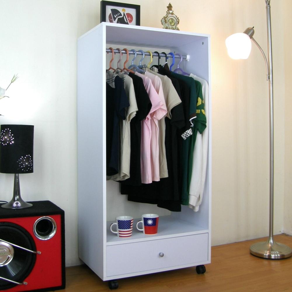 頂堅單桿大抽衣櫃-素雅白(40Dx60Wx125H公分)