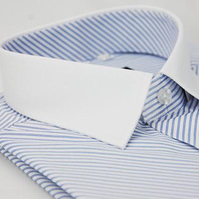金‧安德森 藍色斜紋白領窄版短袖襯衫