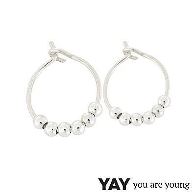 YAY You Are Young Fruit Dor 雅果迷你豆豆圓耳環 耳骨夾 銀色