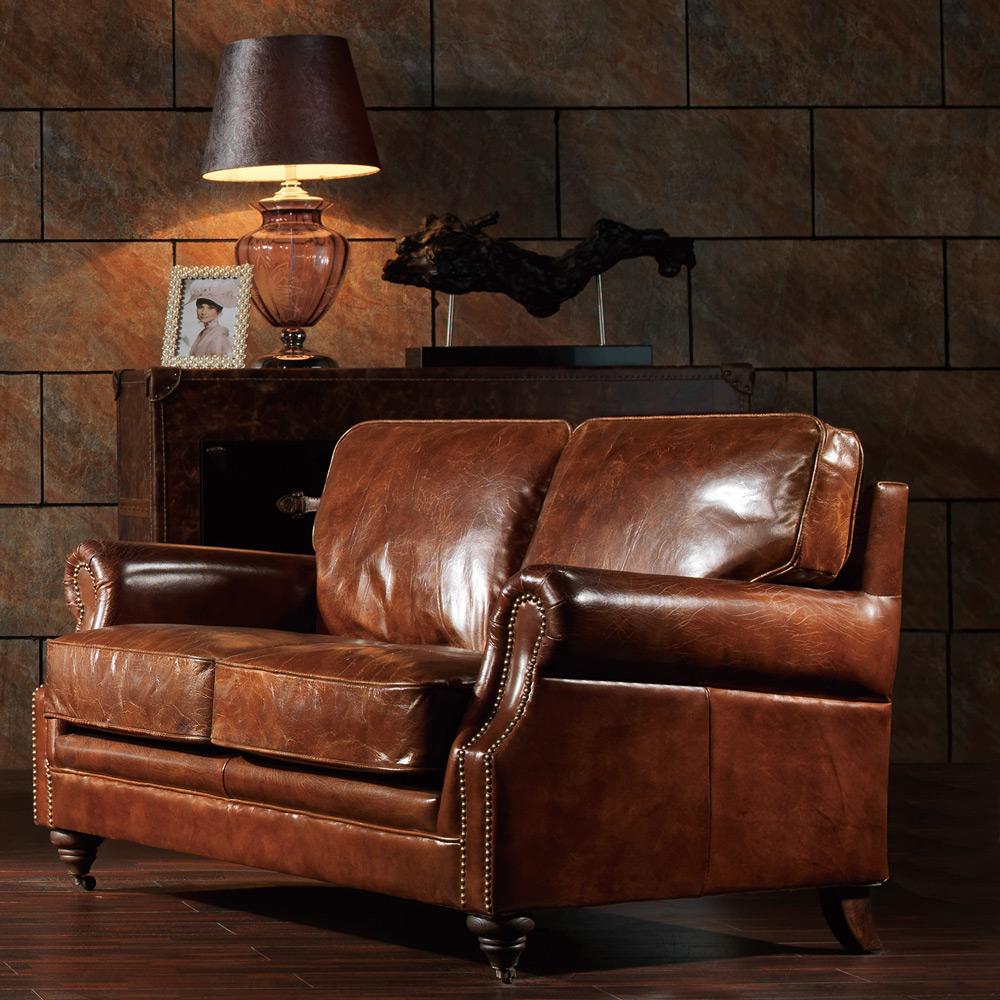 MUSE-Ferdinand斐迪南復古經典鉚釘牛皮雙人沙發
