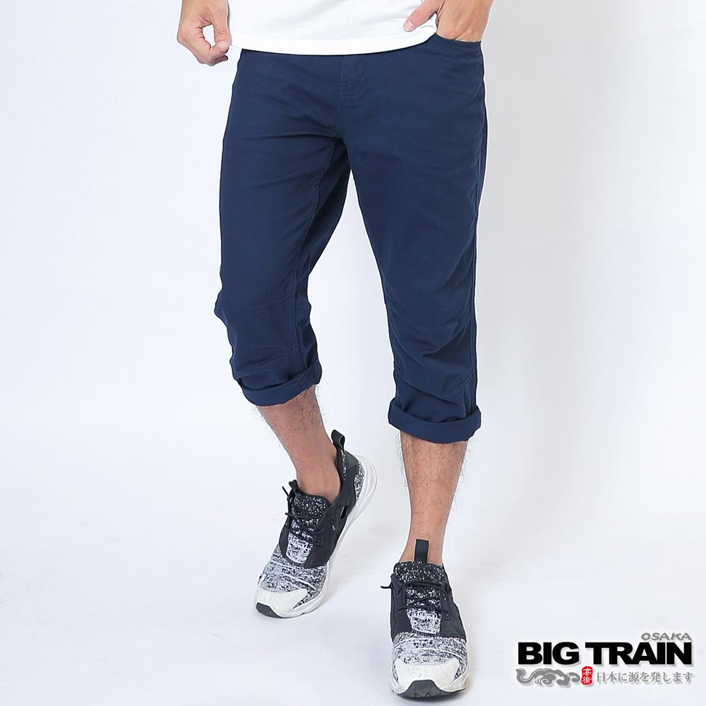 BIG TRAIN 斜紋七分褲-男-丈青
