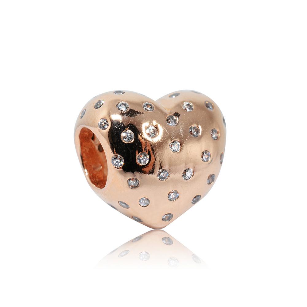 Pandora 潘朵拉 玫瑰金愛心鋯石 純銀墜飾 串珠