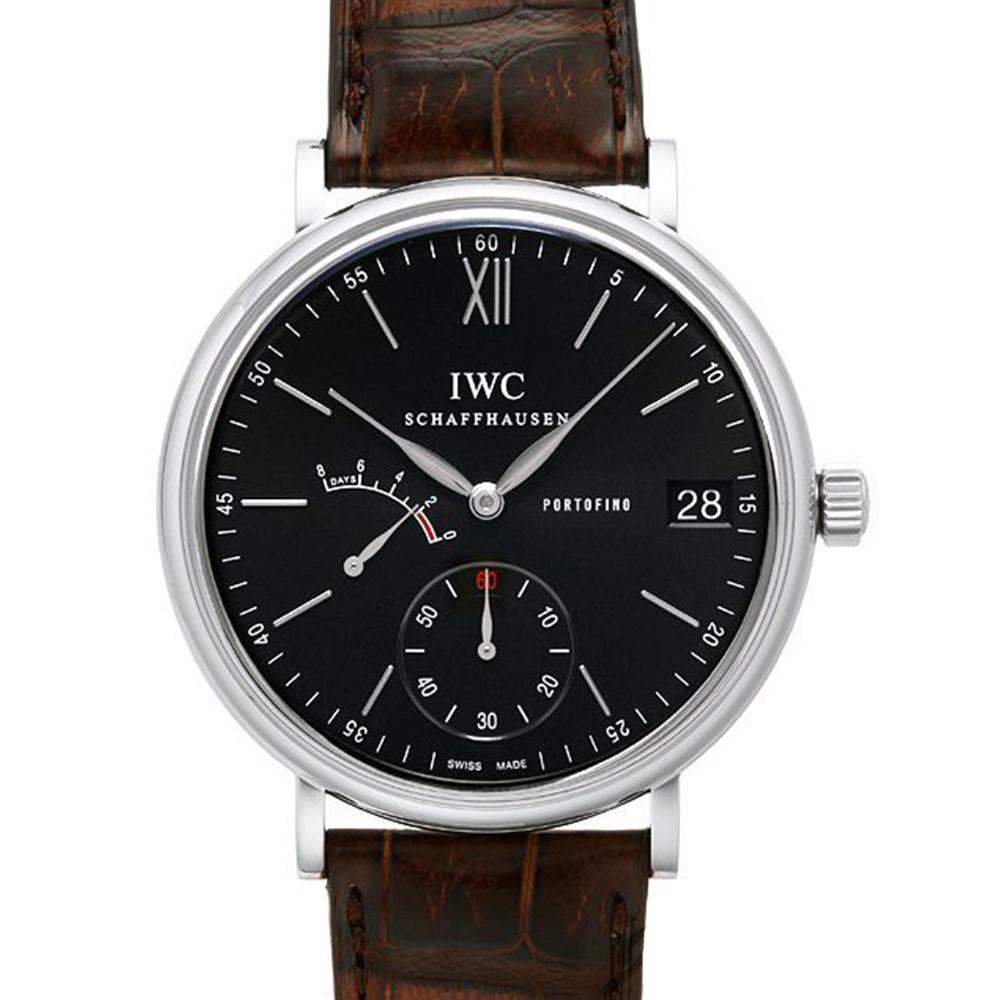 IWC萬國錶 Portofino IW510102 柏濤菲諾手上鍊8日黑面動力儲存腕錶-45mm