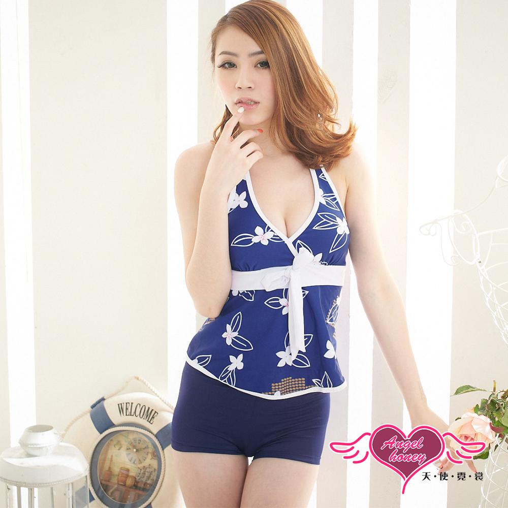 泳衣 簡約花漾 兩件式氣質印花泳裝(藍F) AngelHoney天使霓裳