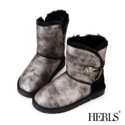 HERLS-霧面金屬圓釦 毛絨雪靴-銀色