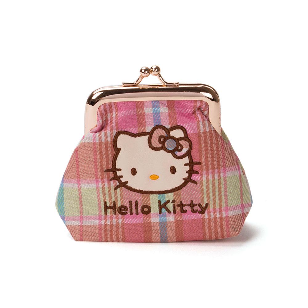 《Sanrio》HELLO KITTY彩色格紋系列珠扣式零錢包