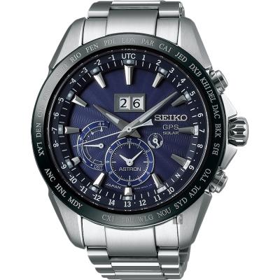 SEIKO精工 GPS 8X42 大視窗GPS太陽能衛星定位手錶(SSE147J1)-藍