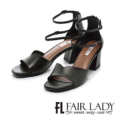 Fair Lady 優雅延伸腳踝繞帶粗跟涼鞋 黑