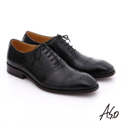 A.S.O 尊榮青紳 全牛皮雕花紳士鞋 黑色