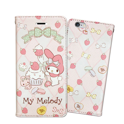 三麗鷗 Melody iPhone 6s/6 Plus 5.5吋 甜心磁扣皮套(草莓甜點)