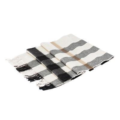 BURBERRY 經典方格紋喀什米爾羊毛披肩/圍巾(200CM-象牙白X灰黑)
