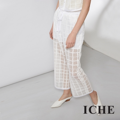 ICHE 衣哲 輕時尚英式格紋造型寬褲/套裝