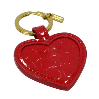 COACH紅色漆皮壓印C Logo心型隨身鏡鑰匙圈