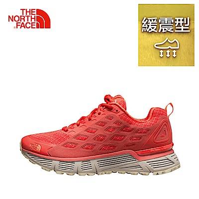 The North Face北面女款橘紅色排汗抓地跑步鞋