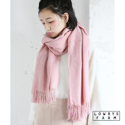 LOWRYS-FARM經典百搭單色素面流蘇披肩寬版圍巾-七色