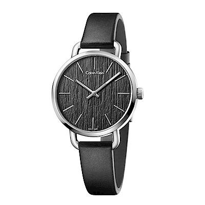 CK CALVIN KLEIN Even 超然系列木質紋黑面女錶-36mm