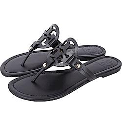 TORY BURCH Miller 品牌LOGO夾腳拖鞋(黑色)