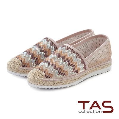 TAS 幾何圖騰配色彩鑽麻繩休閒鞋-可愛粉