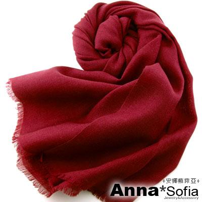 AnnaSofia-素面純色-純羊毛長圍巾-短鬚-酒紅