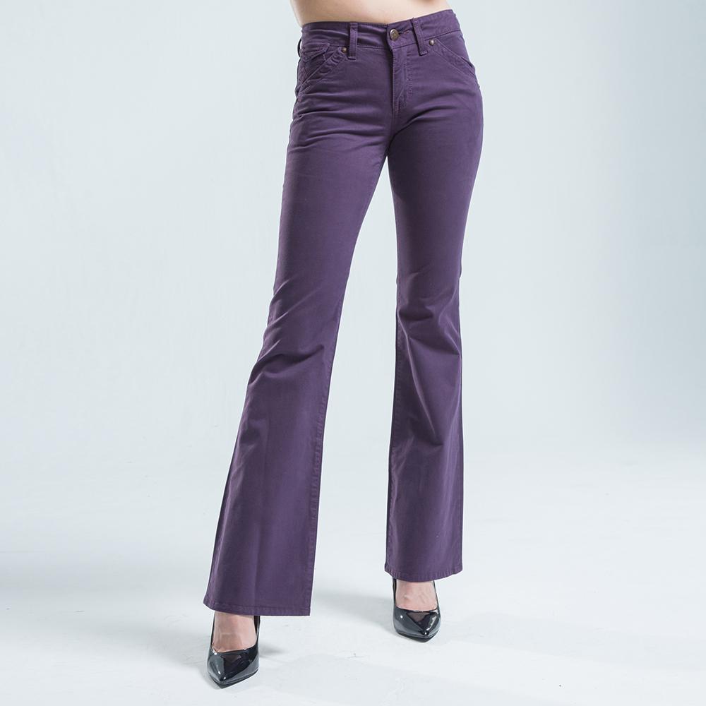 BOBSON 貼袋薄布喇叭褲 -紫色