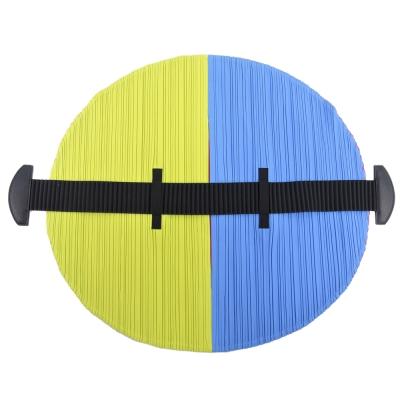 ISSEY MIYAKE 三宅一生 PP系列 FLAT撞色圓形皺褶手提包((藍綠x桃)